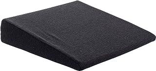 Brandsseller - Cojín en forma de cuña para silla, asiento de coche, silla de oficina (38 x 38 x 8/2 cm), algodón, Negro , 38 cm x 38 x 8/2 cm
