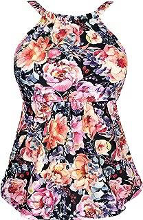Gabrielle-Aug Women's Vintage Floral Print Sporty Tankini Top Swimsuit(FBA)
