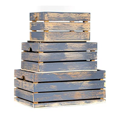 Winship Stake and Lath, Inc. Handmade Rustic Distressed Grey Wood Crates, Nested Set of 3