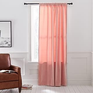 Stone & Beam Modern Light Velvet Curtain Panel with Rod Pocket - 52 x 96, Blush Pink