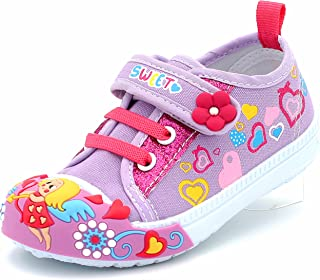 Canvas Sneakers Shoes for Toddler Girls Infant Baby Strap Soft Comfortable Easy Walk Colorful Flower