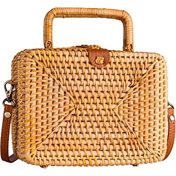Luxury Designer Women Messenger Bags Handmade Hand Bags Vintage Straw Clutch Bags Small Rattan Handbags