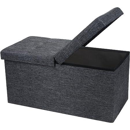 Otto & Ben - Caja de juguetes plegable con tapa de elevación inteligente de tela de lino otomanos para dormitorio y sala de estar, 30 x 15 x 15 cm, color gris oscuro