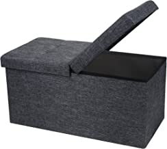 Otto & Ben 30 Storage Folding Toy Box Chest with SMART LIFT Top Linen Fabric Ottomans Bench Foot Rest for Bedroom and Living Room, 30x15x15, Dark Grey