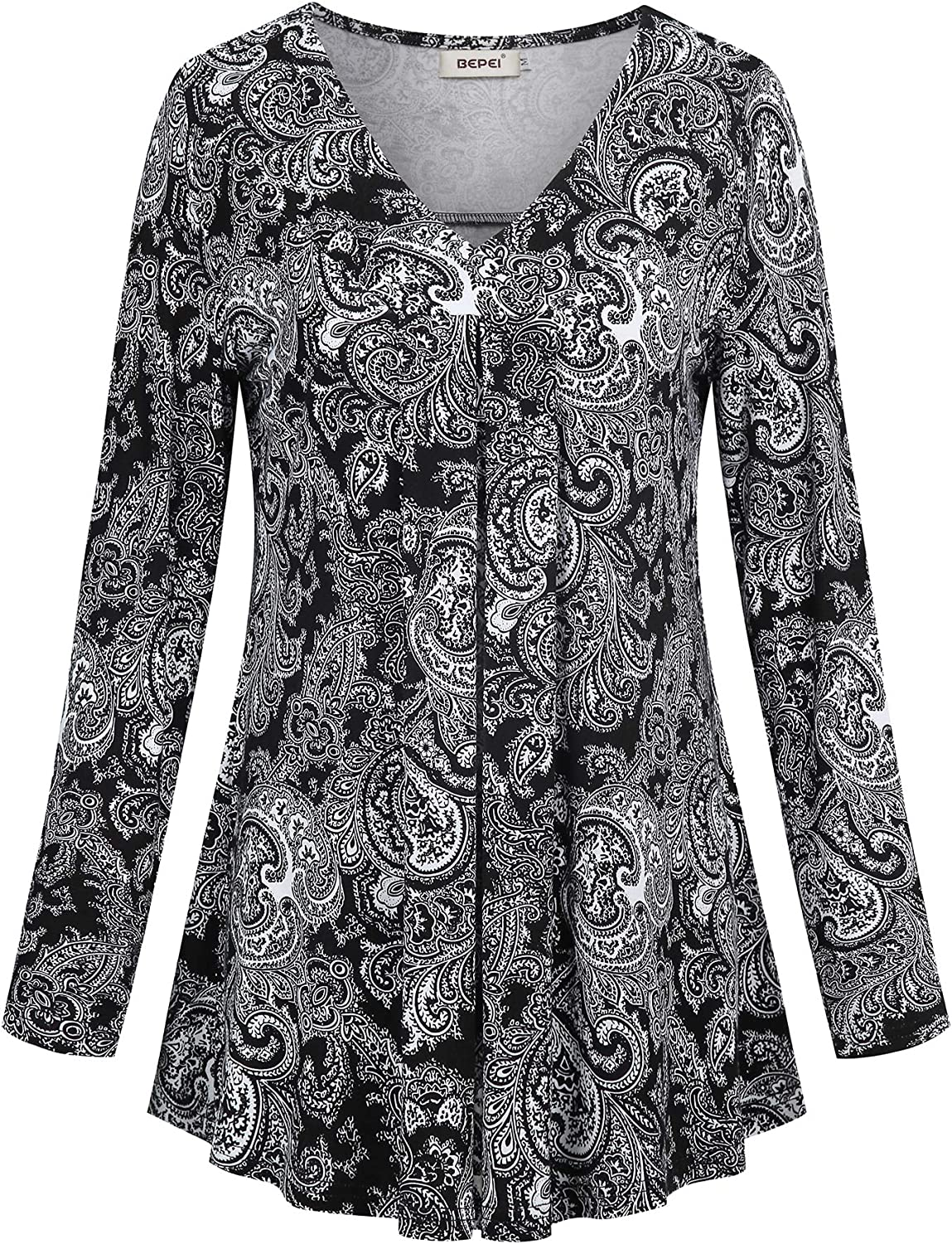 BEPEI Womens Long Sleeve V Neck Shirts Floral Casual Loose Flowy Tunic Tops