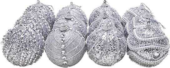 Christmas Concepts Pack of 12-8cm Silver Decorated Glitter/Sequin Baubles Christmas Decorations