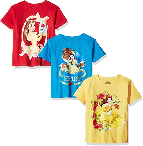 Disney Peu Girls' Beauty and The Beast 3-Pack manche courte T-Shirts, jaune Turquoise rouge, 6X