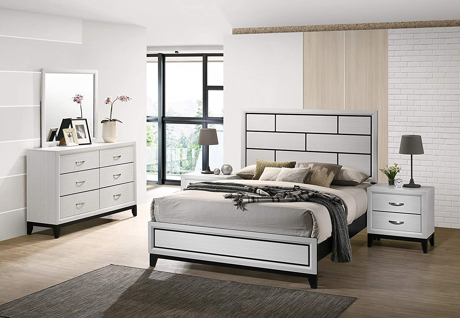 Roundhill Furniture Stout Contemporary Panel Bedroom with Set Max Max 68% OFF 45% OFF Qu