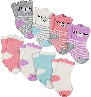 Baby Girls 8-Pair Wiggle Proof Sock