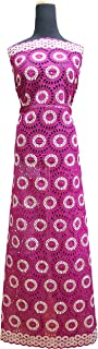 5Yds 100% Cotton Premium Swiss Voile Lace Fabric for Women , Fashion Dress , Party , Aso-Ebi(2100) (MAZENTA)