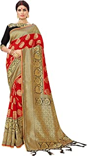 ELINA FASHION Sarees for Women Banarasi Art Silk Woven Saree l Indian Wedding Traditional Wear Sari and Blouse