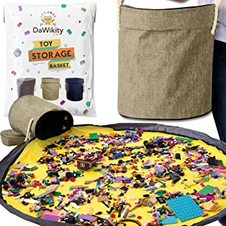 Toy Storage Basket and Play Mat by DaWikity - Designed by Parents - Kids Toy Storage Mat - Playmat Toy Storage Bag- Toy St...