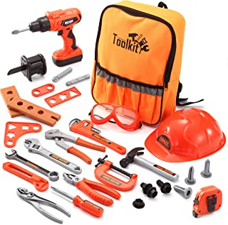 JOYIN 32 PCS Kids Construction Tool Toy Set Backpack of Tool Toys with Electric Power Drill Toy, Construction Helmet, Cons...