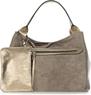 c6ff4c66ea0 Gianni Chiarini Italian Made Metallic Champagne Canvas Large Zip Pocket  Carryall Tote Handbag with Pouch