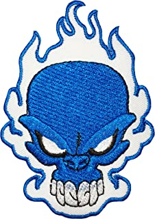 Papapatch Blue Fire Flame Burning Skull Ghost Skeleton Biker Rider Chopper Jacket Vest Costume Sew on Iron on Embroidered Applique Patch - White (IRON-BLUE-FIRE-SKULL)