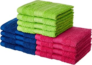 Amazon Brand - Solimo 100% Cotton 12 Piece Face Towel Set, 500 GSM (Multicolour)