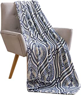 Elegant Damask Velvet Fleece Throw Blanket: Soft Plush Teardrop Moroccan Accent for Couch or Bed, Colored: Stone Blue Grey Black White VCNY Rosamond