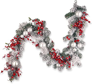 National Tree 72 Inch Christmas Garland with Red and White Ornaments (RAC-J502X6)