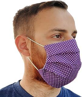 Lilind Maschera comodo per il viso alla Moda, Tessuto 100% Cotone, Riutilizzabile, Traspirante, Handmade, Motivo a Punti v...