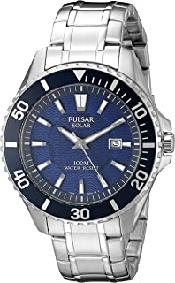 Men's Solar Sport Silvertone Blue Dial Watch