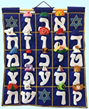 Pockets of Learning Aleph Bet Wall Hanging -- Blue, Hebrew Fabric Wall Décor for Children, Jewish Kid's Room Décor