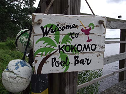 Perfect For Your Man Cave Lounge Happy Hour Pool Hot Tub Island D/écor Margaritaville Tiki Bar Sign Come Stay Awhile Relax Sign 8x12 Made In Hawaii USA All Weather Metal