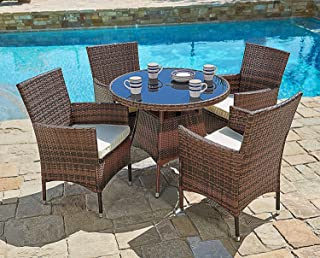 SUNCROWN Outdoor Furniture Patio 5-Piece Round Dining Table and Chairs Set, All-Weather Wicker with Washable Cushions and Tempered Glass Tabletop