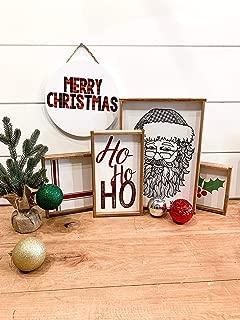 Santa Claus Merry Christmas HO HO HO Christmas Wood Sign