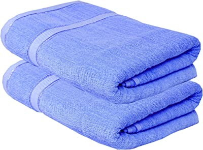 K.S. Collection Cotton Highly Absorbent Big Size 30X60 inch Bath Towels, 450GSM (Blue, 2 Piece)