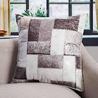 DECOMALL Luxury Faux Fur Leather Decorative Throw Pillow Cover Patchwork Geometric Print Designer Soft Pillow Case 20