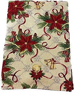 EmilyHome Mantel navideño de tela Gobelin a cuadro, art. Ribbons Christmas con Lurex dorado (sin servilletas), medidas esp...
