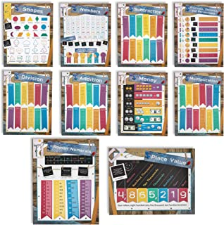Juvale 10-Count Kids Elementary School Math Learning Chart Posters, 10 Designs, 17.5 x 24 Inches