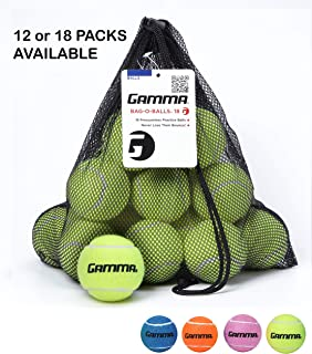 Gamma Bag of Pressureless Tennis Balls - Sturdy & Reuseable Mesh Bag with Drawstring for Easy Transport - Bag-O-Balls (12 and 18-Pack of Balls, Multiple Colors Available)