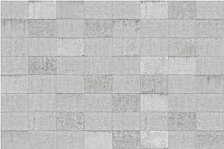 Bilderwelten Fotomural Premium - Conctrete Wallpaper - Grey Concrete Block Wall - Mural apaisado papel pintado fotomurales murales pared papel para pared foto 3D mural pared barato decorativo, Dimensión Alto x Ancho: 255cm x 384cm