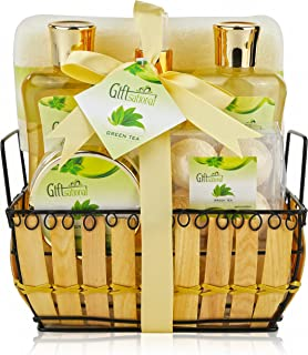 Giftsational Spa Gift Basket with Green Tea Fragrance, Great Birthday or Mothers Day Gift for Women - Spa Bath Gift Set Includes Bubble Bath, Bath Salts, Bath Fizzers, Shower Gel & Body Spray