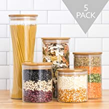 Set of 5 - Food Storage Jars | Glass Jars with Bamboo Lids | Glass Kitchen Canisters | Spices Jars with wood lids | Glass ...