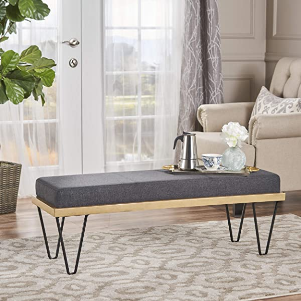 Christopher Knight Home 302216 Elaina Bench Perfect For Dining Table Or Entry Way Danish Minimal Mid Century Modern Design Hairpin Leg Fabric In Charcoal Dark