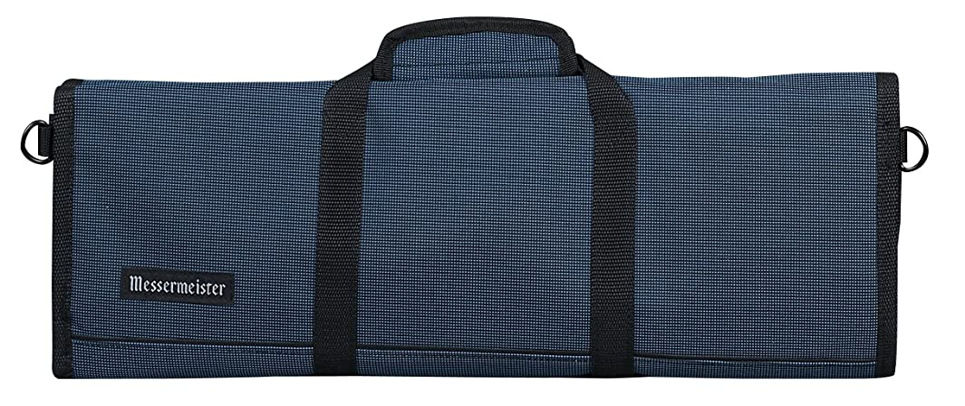 Messermeister 12-Pocket Padded Knife Roll, Black and Blue Woven