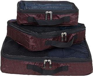 Ben Sherman 3-Piece (Small, Medium, Large) Lightweight Durable Printed Organizer Packing Cube Travel Set for Luggage, Houn...