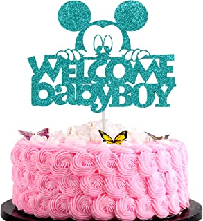 Artczlay Welcome Baby Boy Cake Topper Creative Green Flash Mickey Peeking Baby Shower First Birthday Party Cake Decoration
