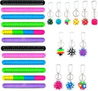 12 Ruler Slap Bracelets for Kids and 12 Backpack Keychains - 24 Pieces Birthday Party Favors Set, Back to School Teacher Rewards for Students, Goodie Bag Fillers, Stocking Stuffers (Slaps/Keychains)