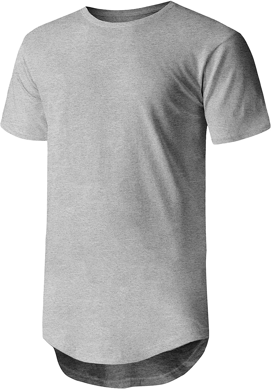Ma Croix Mens Hipster T Shirts Hip Hop Longline Crewneck Casual Street Basic Big and Tall Tee
