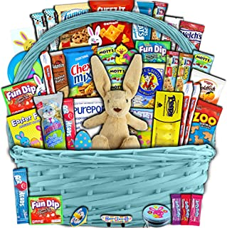Blue Easter Basket for Kids and Adults 40ct - Already Filled Easter Gift Basket with Plush Easter Bunny, Chocolate, Candy, and Toys - Boys, Girls, Grandchildren, Young Children, Toddlers, Men, Women