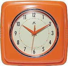 Infinity Instruments Square Silent Retro 9 inch Mid Century Modern Kitchen Diner Retro Wall Clock Quartz Sweep Movement (O...