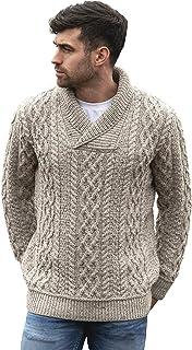 Men's Soft Irish Cable Knit Shawl Collar Sweater (100%...