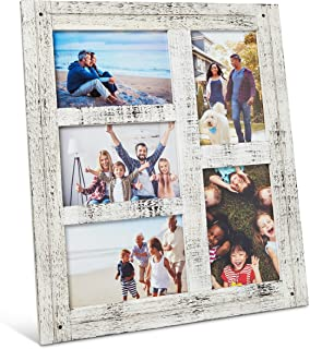 Rustic Wooden Picture Frame - Photo Collage Frames - Hanging Farmhouse/Home/Wall Decor/Family Room Display - Distressed Chic Wood - 4x6 Collages - Decorative Personalized Display - Picture Frames
