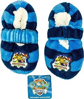 Fuzzy Babba Paw Patrol Slipper Socks for Boys (1 Pair) Size 2T - 3T Shoe Size 4.5-8