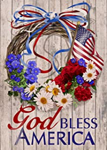 Furiaz God Bless America Garden Flag, USA July 4th Wreath House Yard Lawn Decorative Small Flag Morning glory Daisy Geranium Flower Outside Decorations, Patriotic Outdoor Decor Sign Double Sided 12x18