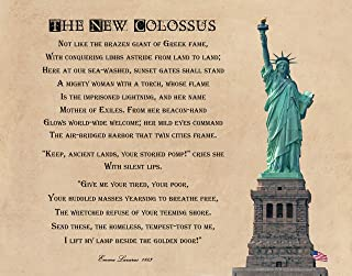 The New Colossus, Give Me Your Tired Your Poor, 14x11 inch Unframed Print of 1883 Poem by Emma Lazarus to Raise Funds for the Statue of Liberty Construction. Ideal for American History Lovers