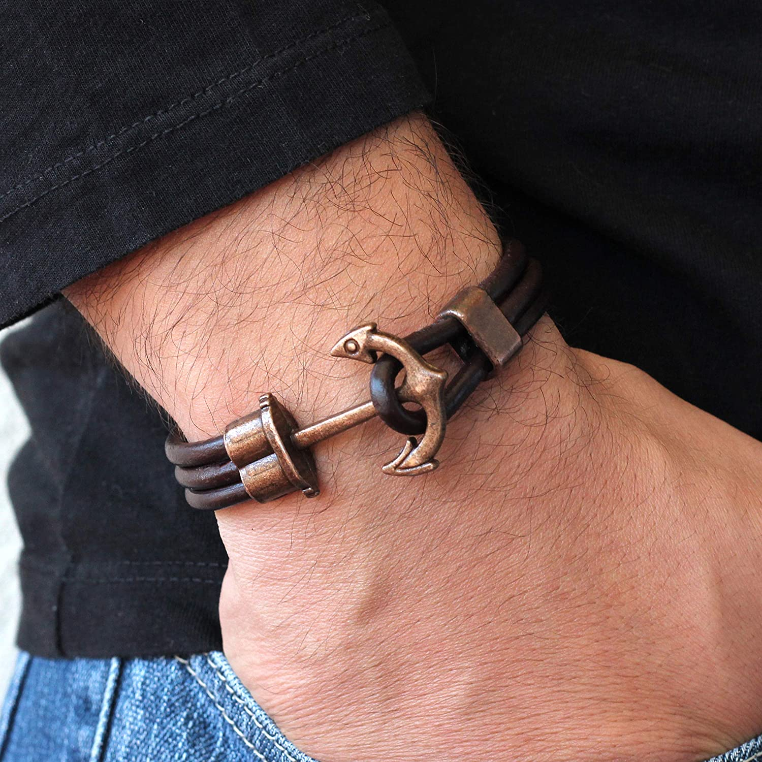 Multilayer Brown High order Leather Antique Copper Indianapolis Mall Bracelet Anchor Mens Jew